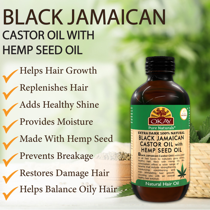 Extra Dark 100% Natural Black Jamaican Castor Oil With Hemp Seed Oil -  Helps Strengthen Hair- Soothe Scalp & Skin, Helps Naturally Grow Strong  Healthy