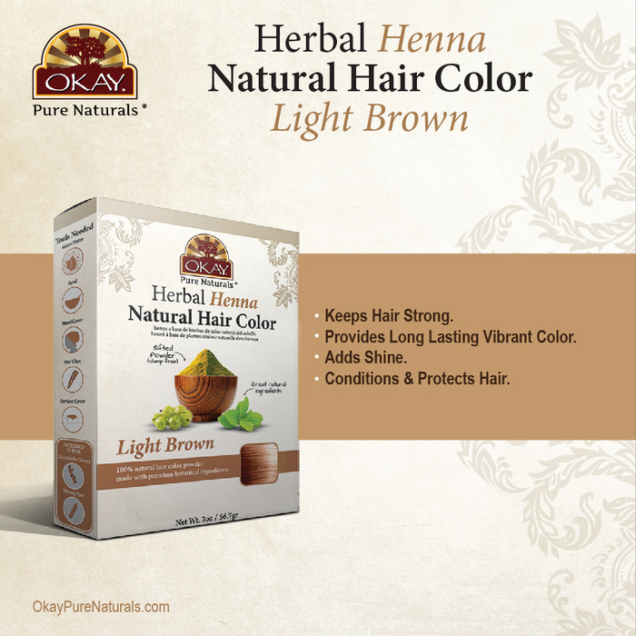 Herbal Henna Hair Color Light Brown 2oz Okaypurenaturals