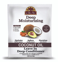 OKAY Coconut Deep Moisturizing Leave In Conditioner Packet - Helps Replenish Moisture And Elasticity For Healthy Strong Hair - Sulfate, Silicone, Paraben Free For All Hair Types and Textures - Made in USA 1.5oz