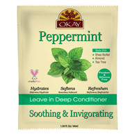 OKAY Soothing And Invigorating Peppermint Leave In Conditioner Packet - Helps Refresh, Revitalize, And Add Softness To Hair - Sulfate, Silicone, Paraben Free For All Hair Types and Textures - Made in USA 1.5oz