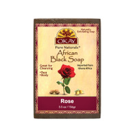 African Black Soap Rose  - Cleanses And Exfoliates Skin- Anti Inflammatory & Anti Bacterial- Nourishes Skin & Helps Heal Skin  - Sulfate, Silicone, Paraben Free For All Skin Types  -Created In Ghana- Processed In USA - 5.5oz/156Gr