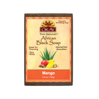 African Black Soap Mango - Cleanses And Exfoliates Skin- Anti Inflammatory & Anti Bacterial- Nourishes Skin & Helps Heal Skin  - Sulfate, Silicone, Paraben Free For All Skin Types  - Made in USA -  5.5oz/156Gr