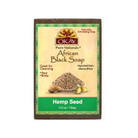 African Black Soap Hemp Seed - Cleanses And Exfoliates Skin- Anti Inflammatory & Anti Bacterial- Nourishes Skin & Helps Heal Skin  - Sulfate, Silicone, Paraben Free For All Skin Types  - Made in USA -  5.5oz/156Gr