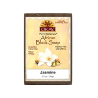 African Black Soap Jasmine - Cleanses And Exfoliates Skin- Anti Inflammatory & Anti Bacterial- Nourishes Skin & Helps Heal Skin  - Sulfate, Silicone, Paraben Free For All Skin Types  - Made in USA -  5.5oz/156Gr