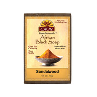 African Black Soap Sandalwood  - Cleanses And Exfoliates Skin- Anti Inflammatory & Anti Bacterial- Nourishes Skin & Helps Heal Skin  - Sulfate, Silicone, Paraben Free For All Skin Types  - Made in USA - 5.5oz/156Gr