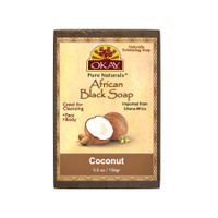 African Black Soap Coconut - Cleanses And Exfoliates Skin- Anti Inflammatory & Anti Bacterial- Nourishes Skin & Helps Heal Skin  - Sulfate, Silicone, Paraben Free For All Skin Types  - Created In Ghana- Processed In USA-  5.5oz/156Gr
