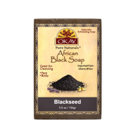 African Black Soap Blackseed  - Cleanses And Exfoliates Skin- Anti Inflammatory & Anti Bacterial- Nourishes Skin & Helps Heal Skin  - Sulfate, Silicone, Paraben Free For All Skin Types  - Created In Ghana- Processed In USA- 5.5oz/156Gr