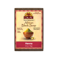 African Black Soap Henna - Cleanses And Exfoliates Skin- Anti Inflammatory & Anti Bacterial- Nourishes Skin & Helps Heal Skin  - Sulfate, Silicone, Paraben Free For All Skin Types  - Made in USA -  5.5oz/156Gr