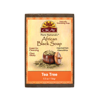 African Black Soap Tea Tree - Cleanses And Exfoliates Skin- Anti Inflammatory & Anti Bacterial- Nourishes Skin & Helps Heal Skin  - Sulfate, Silicone, Paraben Free For All Skin Types  - Made in USA - 5.5oz/156Gr