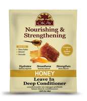 OKAY Honey and Almond Nourishing And Strengthening Leave In Conditioner Packet - Helps Refresh, Revitalize, And Strengthen Hair  - Sulfate, Silicone, Paraben Free For All Hair Types and Textures- Made in USA 1.5oz