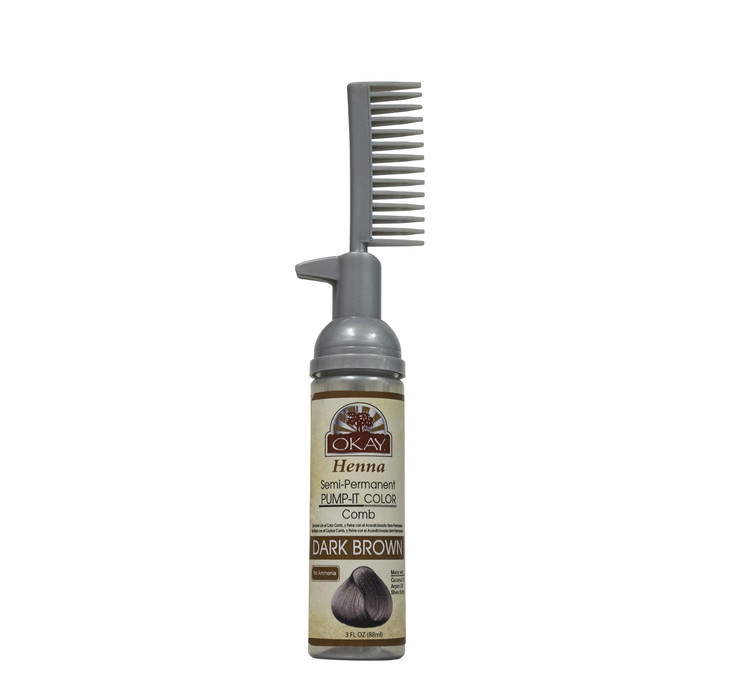 Henna Semi Permanent Pump It Color Comb Dark Brown 25oz 73ml
