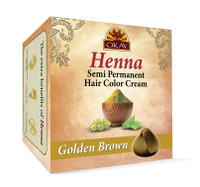 Henna Semi-Permanent Hair Color Cream - Golden Brown- Provides Rich Vibrant Color-  Adds Nourishing Properties - Leaves Hair Soft And Shiny- For All Hair Types & Textures- Made In USA 2 oz