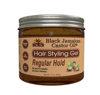 Black Jamaican Castor Oil Hair Gel -Regular Hold- Healthy Conditioning Shine, Leaves Hair Smooth, Conditions Hair- No flakes, No stick, No Itch, And Alcohol-Free, For All Hair Types And Textures - Made in USA   17 oz