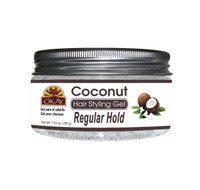 Coconut Hair Gel - Regular Hold- Healthy Conditioning Shine, Leaves Hair Smooth, Conditions Hair- No flakes, No stick, No Itch, And Alcohol-Free, For All Hair Types And Textures - Made in USA  7.25 oz