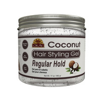Coconut Hair Gel - Regular Hold- Healthy Conditioning Shine, Leaves Hair Smooth, Conditions Hair- No flakes, No stick, No Itch, And Alcohol-Free, For All Hair Types And Textures  - Made in USA 17 oz