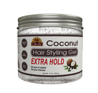 Coconut Hair Gel - Extra Hold - Healthy Conditioning Shine, Leaves Hair Smooth, Conditions Hair- No flakes, No stick, No Itch, And Alcohol-Free, For All Hair Types And Textures - Made in USA   17 oz