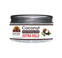 Coconut Hair Gel - Extra Hold -Healthy Conditioning Shine, Leaves Hair Smooth, Conditions Hair- No flakes, No stick, No Itch, And Alcohol-Free, For All Hair Types And Textures  - Made in USA   7.25 oz