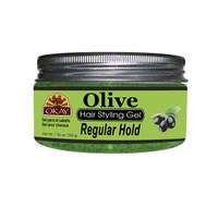 Olive Hair Gel - Regular Hold- Healthy Conditioning Shine, Leaves Hair Smooth, Conditions Hair- No flakes, No stick, No Itch, And Alcohol-Free, For All Hair Types And Textures - Made in USA  7.25 oz