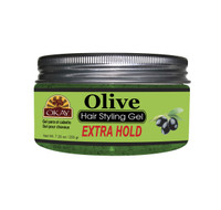 Olive Hair Gel - Extra Hold - Healthy Conditioning Shine, Leaves Hair Smooth, Conditions Hair- No flakes, No stick, No Itch, And Alcohol-Free, For All Hair Types And Textures - Made in USA  7.25 oz