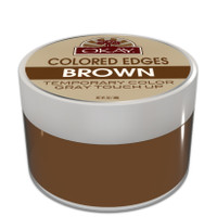 OKAY Brown Colored Edges - No Flaking  All Day Hold - Conceals Gray New Growth Plus Edge Control - For Hairline, Sideburns - Silicone, Paraben Free For All Hair Types and Textures -  Made in USA  1oz