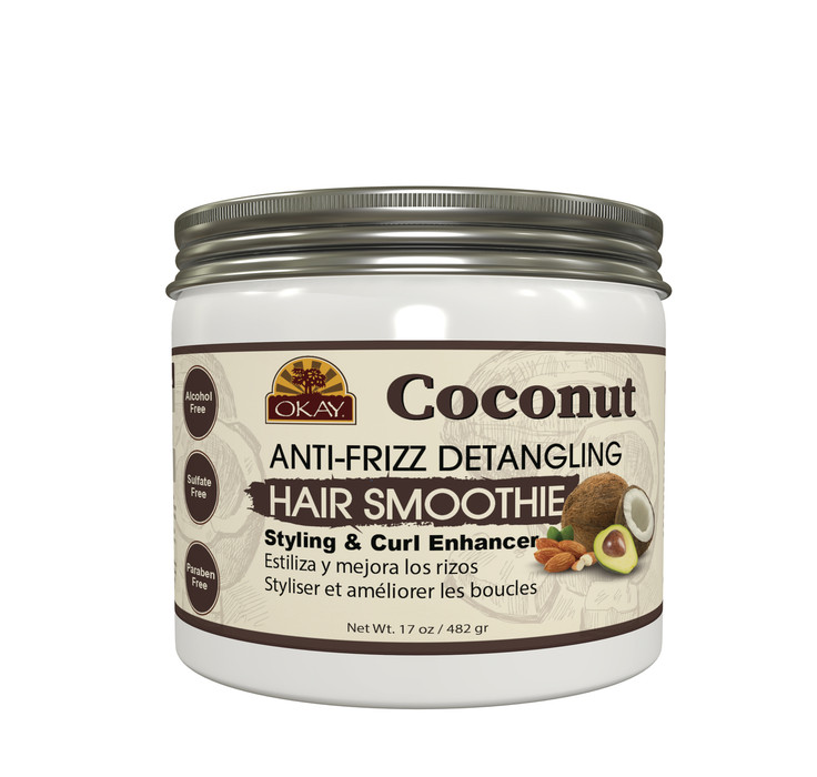 OKAY Coconut Curls Anti -Frizz Detangling Hair Smoothie - For Styling &  Curl Enhancing- For Smooth, Glossy, Frizz Free, Strong & Well Defined Curls  -