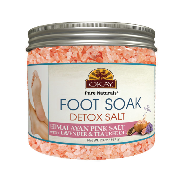 OKAY Foot Spa Foot Soak Himalayan Pink Salt w/ Lavender & Tea Tree Oil-  Soothing Mineral Soak - Leaves Feet Feeling Cleansed, Refreshed And Relaxed  -