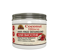 OKAY Coconut Hibiscus Anti-Frizz Detangling Hair Smoothie Deep Moisturizing for ALL Hair Types and Textures. 17 oz