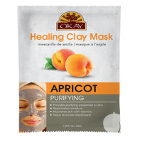 Healing Clay Mask- Apricot - Purifying-Provides Purifying Properties To Skin- Replenishes Moisture- Nourishes Skin WIth Vitamins- Helps Eliminate Blackheads- Made In USA  1.50 fl.oz /44ml