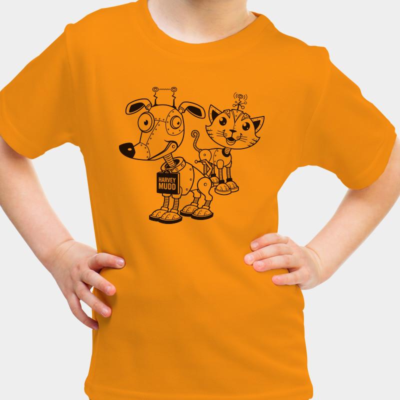 dog and cat robot kids t shirt harvey mudd college