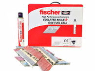 Fischer Stainless Steel Paper Collated Nails compatible with Paslode Nail Gun Pack of 1100 with 1 Gas Cartridge