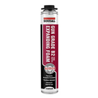 Soudal B2 Fire Rated Expanding Foam - Gun Grade - 750ml can - Champagne