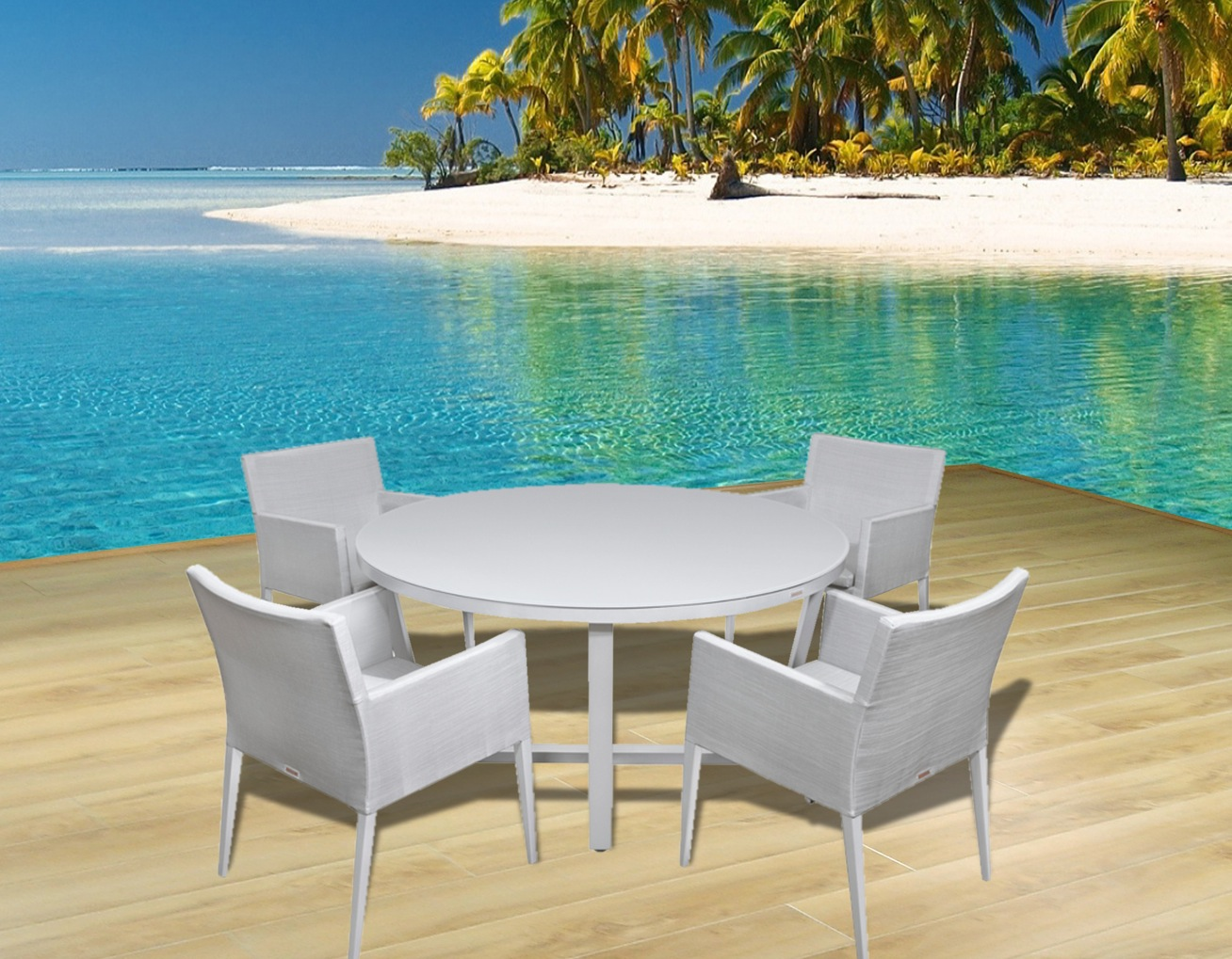 Modern outdoor patio furniture dining sets contemporary for Modern beach house furniture