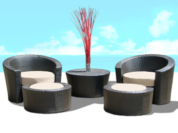 Outdoor Patio Wicker Furniture Resin All Weather 5-Piece Lounge Chair & Ottoman Set