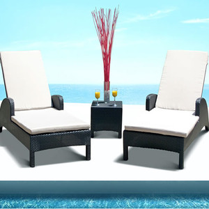 Outdoor Wicker Patio Pool Lounge All Weather 3 Pc Resin Wicker Chair Recliner Set