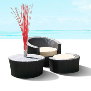 Outdoor Patio Wicker Furniture Resin All Weather 3-Piece Lounge Chair & Ottoman Set
