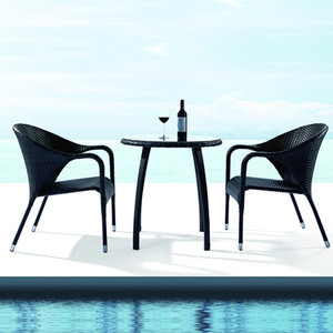 Outdoor Patio Wicker Furniture New All Weather Resin 3-Piece Dining Table & Chair Set