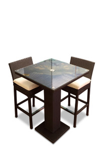 Outdoor Patio Wicker Furniture New Resin 3-Piece Dining Bar Table & Barstool Set