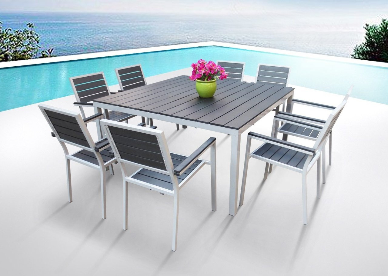 9 pc square dining table set i buy now i mangohome for Patio dining sets with bench seating