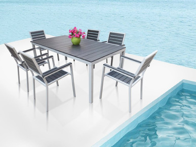 Outdoor Patio Furniture New Aluminum Resin 7 Piece Rectangular Dining Table  U0026 Chairs Set