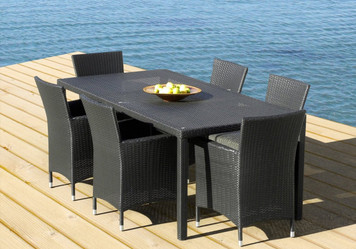 Outdoor Patio Wicker Furniture All Weather Resin 7-Piece New Dining Table & Chair Set