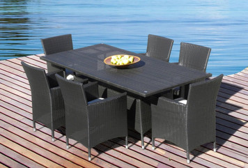 Outdoor Patio Wicker Furniture All Weather Resin 7-Piece Dining Table & Chair Set