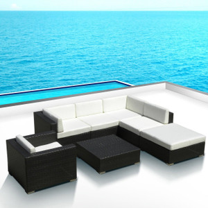 Outdoor Patio Sofa Sectional All Weather Wicker Furniture 7pc Resin Couch Set