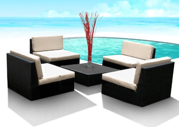 Outdoor Patio Furniture Wicker Sofa Sectional 5pc New Resin Couch Set