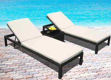 Outdoor Patio Wicker Furniture Pool Lounge All Weather 3-Piece New Resin Patio Recliner Set