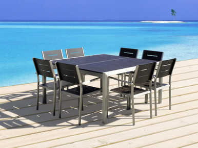 outdoor patio wicker furniture new aluminum 9piece square dining table u0026 chairs set