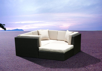 Outdoor Wicker Furniture Sofa Sectional 4pc Resin Couch Set