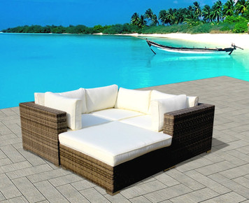 Outdoor Patio Wicker Furniture Sofa Sectional 4-pc Resin Couch Set