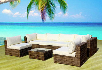 Outdoor Patio Furniture Sofa All- Weather Wicker Sectional 7-pc Resin Couch Set