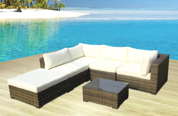 Outdoor Patio Sofa Sectional Wicker Furniture 6pc Resin Couch Set