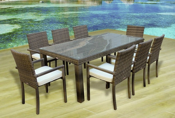 Outdoor Patio Wicker Furniture All Weather New Resin 9 PC Dining Table U0026  Chair Set
